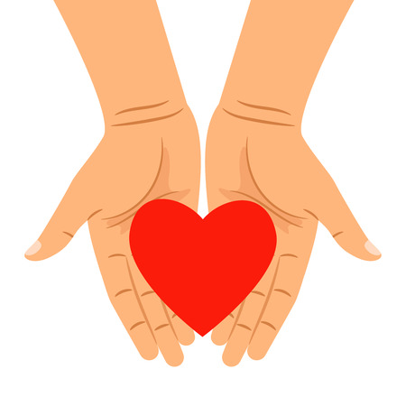 Heart in hands isolated on white. Vector hearts shape in outstretched hands for health caring, people charity and donation concepts Illustration