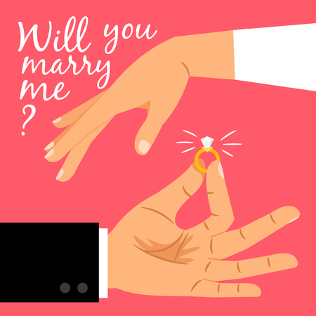 Will you marry me poster. Marriage proposal vector illustration with wedding ring and male and female hands Vettoriali