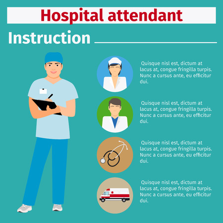 Medical equipment instruction manuals with icons for hospital attendant. Vector illustration