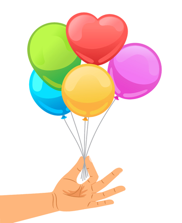 birthday celebration: Balloon set in human hand vector illustration. Hand holds bunch of brightly helium balloons isolated on white background Illustration