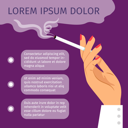cigar smoking woman: Smoking girl hand with cigarette. Smoking area vector poster with text Illustration