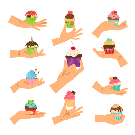 glaze: Cupcake gifts vector illustration. Hands holding pastry cupcakes decorated with cherry, chocolate and hearts isolated on white Illustration