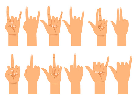 Different gestures of emotions and signs flat vector illustration. People hand signals isolated on white background Illustration