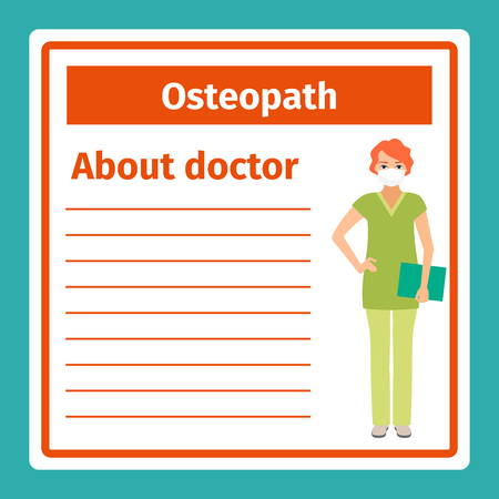 white coat: Medical professional notes about osteopath template. Vector illustration