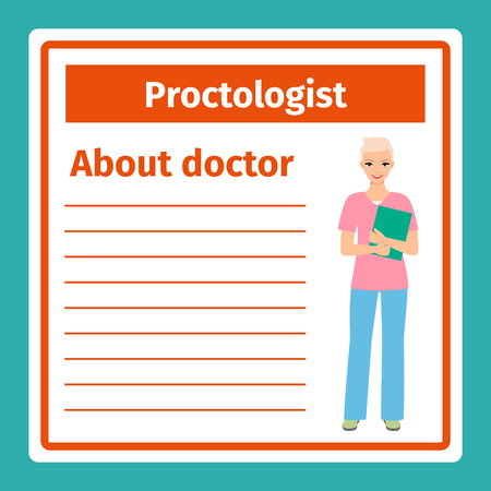 Medical professional notes about proctologist template. Vector illustration Illustration