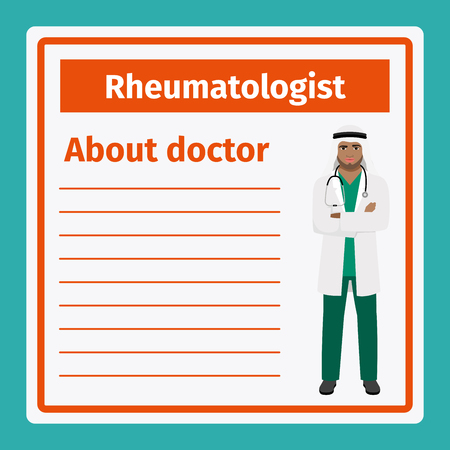 Medical professional notes about rheumatologist template. Vector illustration