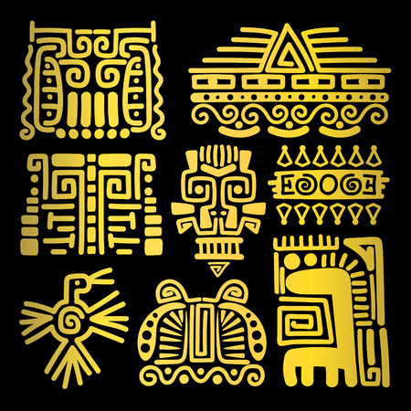 American golden ancient totems on black background, vector illustration Ilustrace