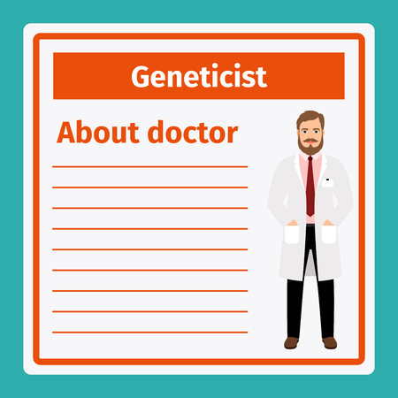 geneticist: Medical professional notes about geneticist template. Vector illustration Illustration