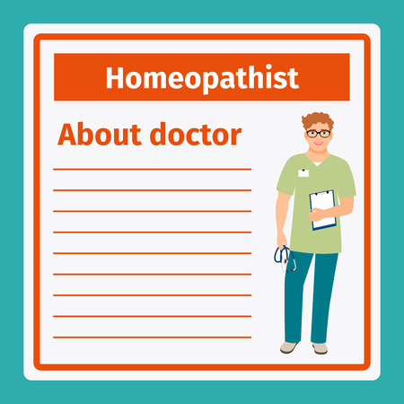 care about the health: Medical professional notes about homeopathist template. Vector illustration