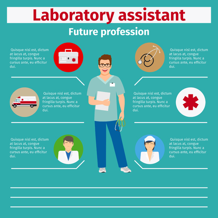 stethoscope boy: Future profession laboratory assistant infographic for students, vector illustration Illustration