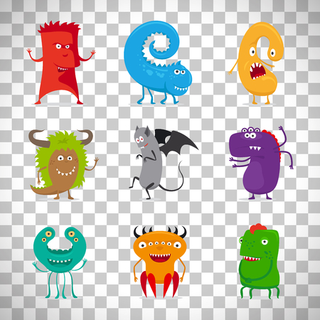 Cartoon cute vector monsters isolated on transparent background