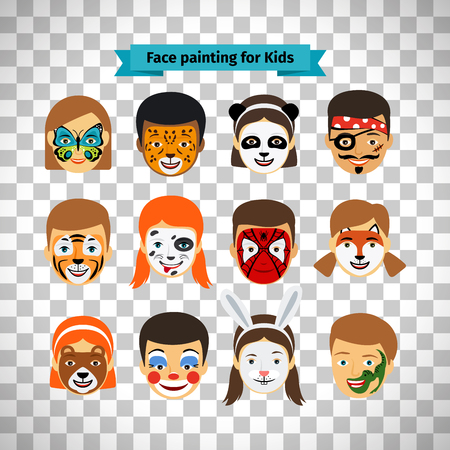 Face painting, kids faces with painting isolated on transparent background
