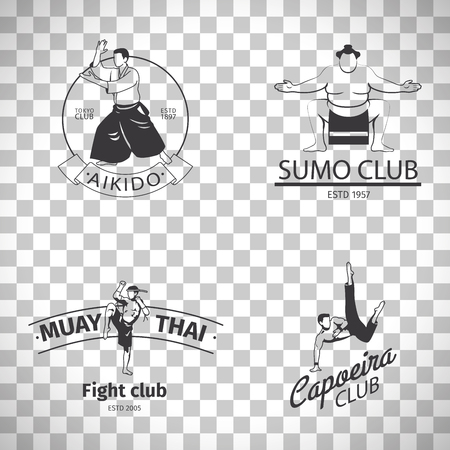 knuckles: Fight club logo or MMA emblem set. Capoeira and sumo, aikido and thai boxing logos isolated on transparent background