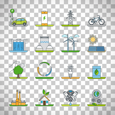 Renewable energy outline icons and green technology thin line icons vector set isolated on transparent background Illustration
