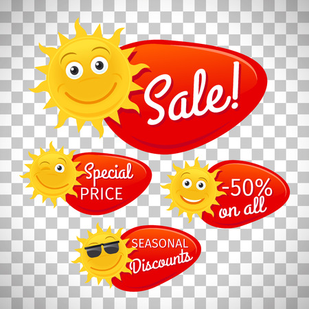 Summer sale labels promotional advertising with smiling sun vector isolated on transparent background Çizim