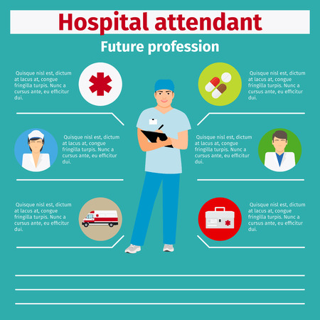 Future profession hospital attendant infographic for students, vector illustration
