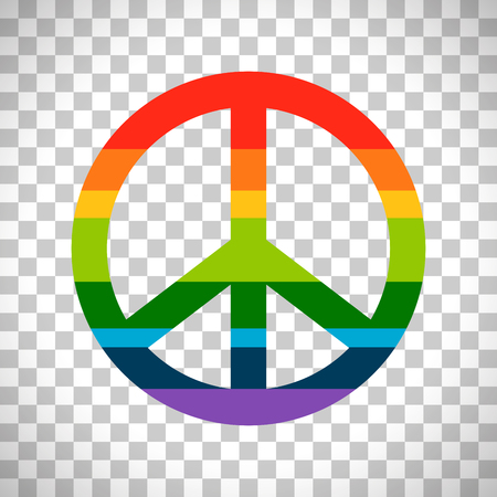 Brightness rainbow peace symbol vector isolated on transparent background