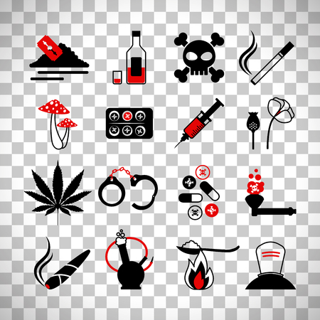 Drugs and alcohol addiction icons. Poison and injection, razor blade and marijuana pipe signsisolated on transparent background