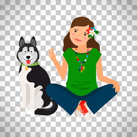 shephard: Hippie girl with dog vector isolated on transparent background Illustration
