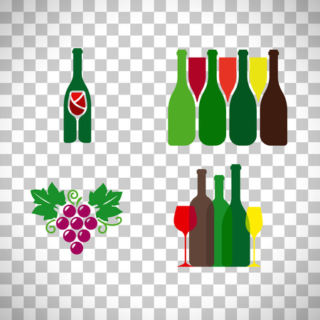 Wine logo with grape set isolated on transparent background. Vector illustration