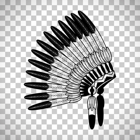 American Indian feathers war bonnet isolated on transparent background, vector illustration