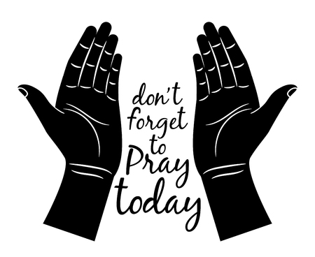 Jesus praying hands silhouette isolated on white background. Vector prayer hands with calligraphy for christian church concepts