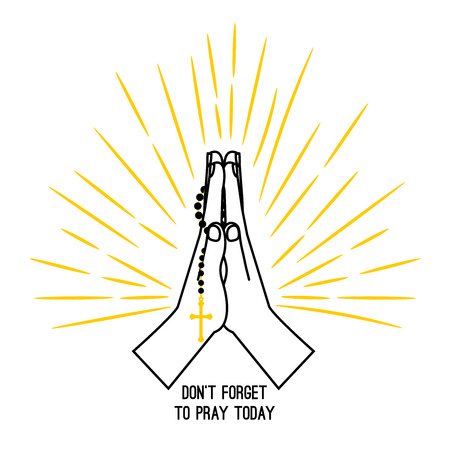 Hand drawn praying hands with a rosary, vector poster isolated on white background.