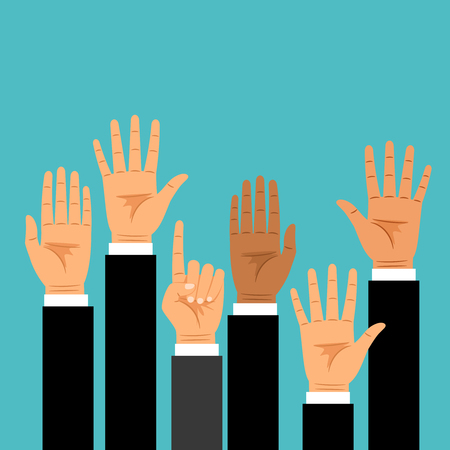 Business hands raised upwards. Hand set in business suits voting or asking vector illustration