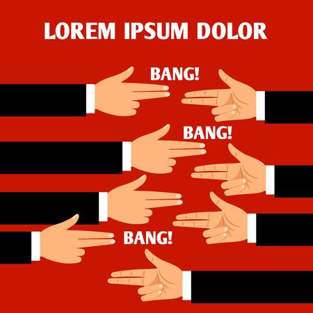 Businessmen hands in gun bang-bang gesture poster  vector concept Illustration
