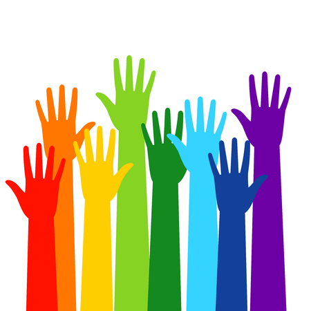 Colored volunteer crowded hands isolated on white background. Raised hand silhouettes, people colorful voting vector illustration