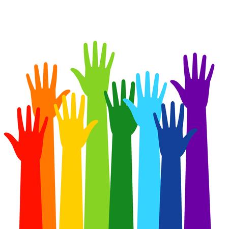 Mani colorate volontarie affollate isolato su sfondo bianco. Siluette di mano sollevate, persone illustrazione vettoriale colorato di voto Archivio Fotografico - 82179655