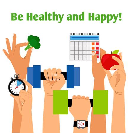 両手、適切な栄養、毎日ルーチンのシンボル ベクトル図と健康的なライフ スタイル コンセプト