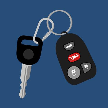 Car key on chain with black auto access padlock alarm security system vector illustration Illustration