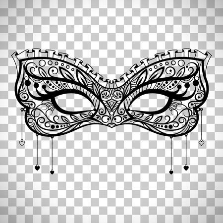 Elegant carnaval masker, zwarte sierlijke kant maskerade masker vector geïsoleerd op transparante achtergrond Stock Illustratie