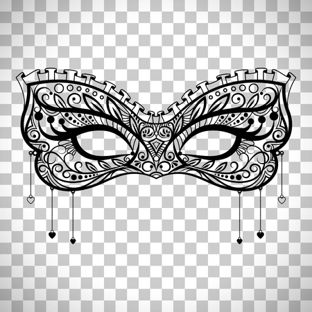 Elegant carnival mask, black ornate lace masquerade mask vector isolated on transparent background