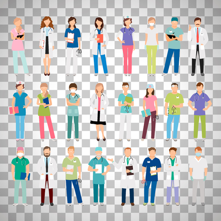 Female and male doctors and women and man nurse set vector illustration isolated on transparent background. Vector healthcare hospital medical team Ilustrace