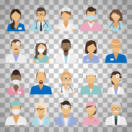 Medical staff icons. Doctors and nurses medical staffs avatars isolated on transparent background. Vector illustration