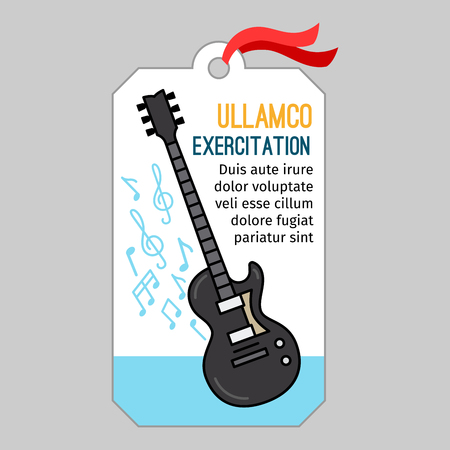acoustics: Music tag or musical label or banner with guitar vector illustration