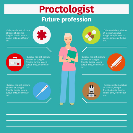 Future profession proctologist infographic for students, vector illustration