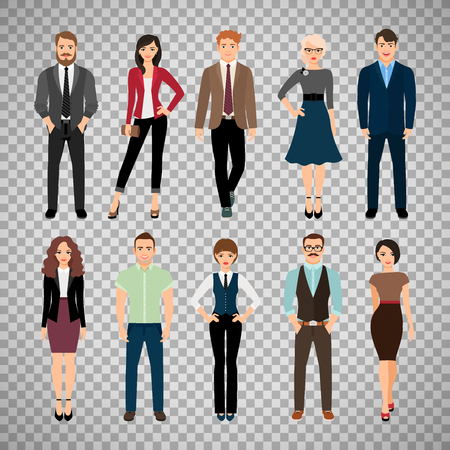 Casual office people vector illustration. Fashion business men and business women persons group standing isolated on transparent background Stock Vector - 82442492