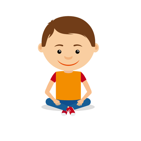 Smiling young little boy sitting on the floor, isolated on the white background. Vector illustration Çizim