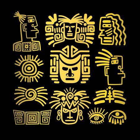 Tribal face drawings set, golden symbols, vector illustration Vettoriali