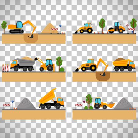 Baustelle Maschinen Vektor-Illustration. Loader und Bagger, Bagger und Dumper auf transparentem Hintergrund isoliert Standard-Bild - 82438878