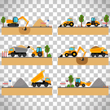 Building site machinery vector illustration. loader and excavator, digger and dumper isolated on transparent background