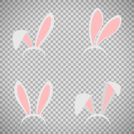 Easter bunny ears mask vector illustration. Ostern rabbit ear spring hat set isolated on transparent background