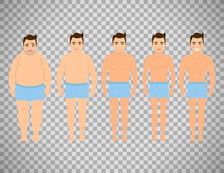 ダイエット前後の男。フラットなデザイン、透明な背景で隔離のベクトル図です。ダイエットの概念  イラスト・ベクター素材