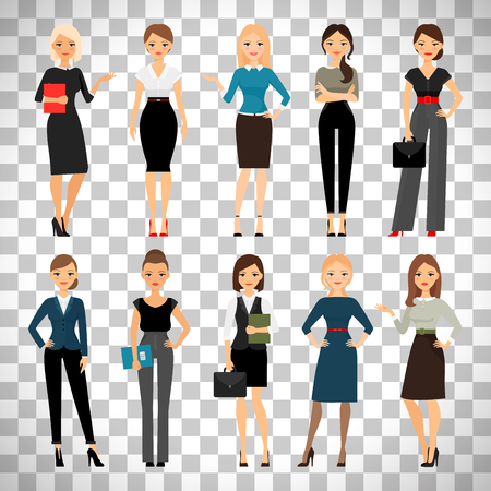 Women in office clothes. Beautiful woman in business clothes isolated on transparent background. Vector illustration.