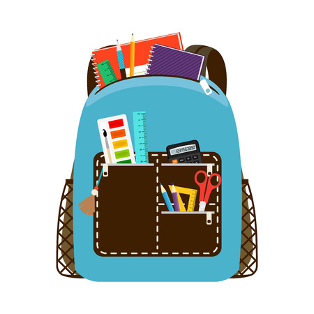 Blue schoolbag. Children school bag packs isolated on white background with notebook and equipment illustration.