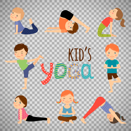 Yoga kids set. Gymnastics for children and healthy lifestyle isolated on transparent background. Vector illustration