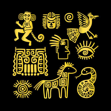 mayan prophecy: Aztec ancient animal golden symbols on black background. Vector illustration